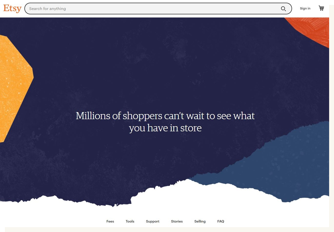 """An image of the Etsy seller homepage. The main text reads: """"Millions of shoppers can't wait to see what you have in store."""" The text is surrounded by blue, red, and yellow artistic ink splotches."""