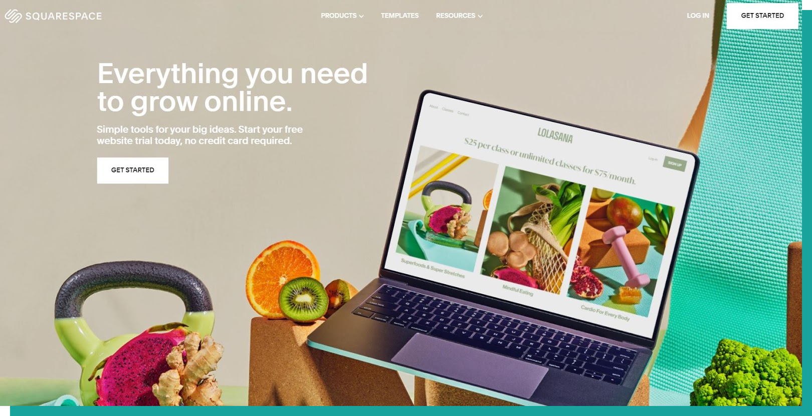 """An image of the Squarespace homepage. The main text reads: """"Everything you need to grow online."""" There is a laptop with fitness classes advertised on screen, surrounded by healthy fruits, vegetables, and a green kettlebell."""