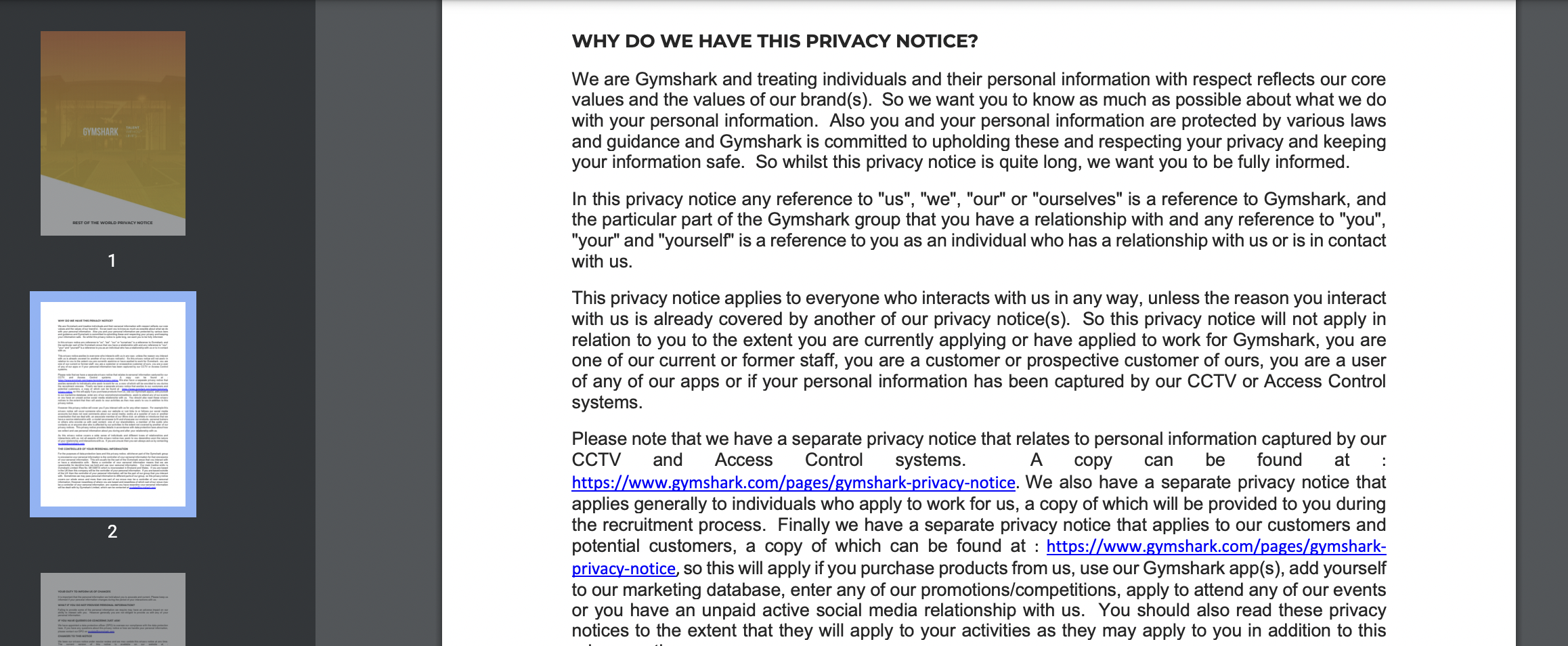 GymShark Privacy Notice