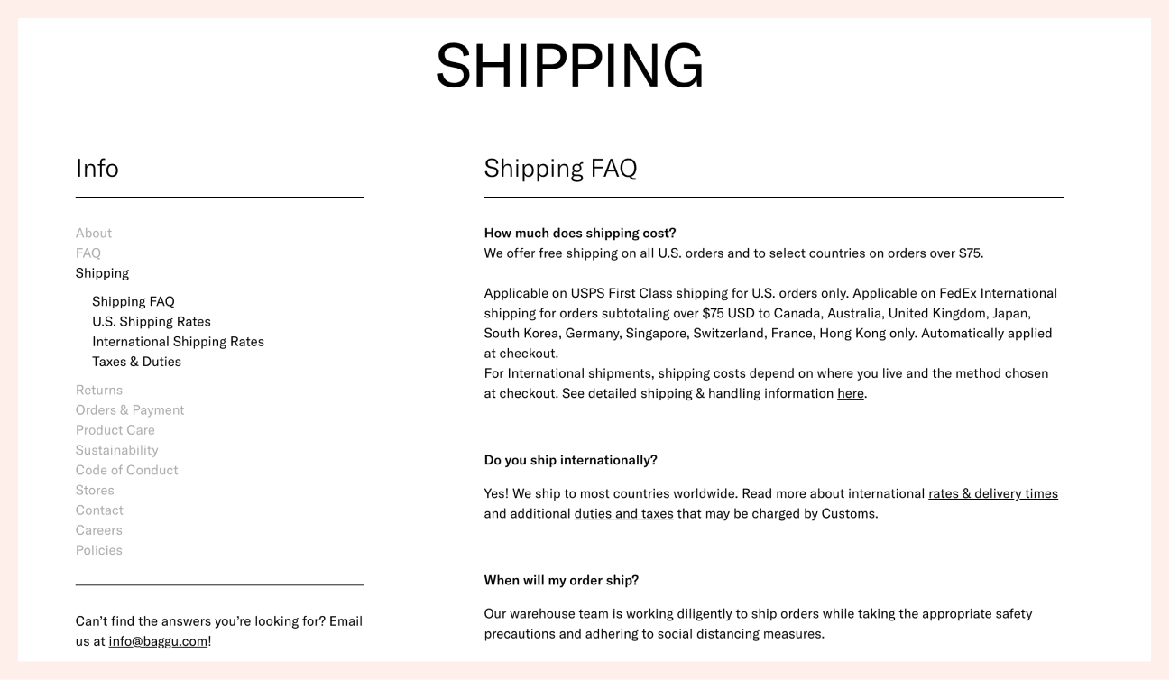Baggu Policy Pages example